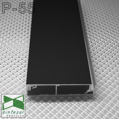 Черный алюминиевый плинтус скрытого монтажа P-55B, 60х15х2500мм.