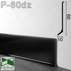 P-60DZ. Чёрный полированный плинтус из алюминия Sintezal, 60х10х2500мм.