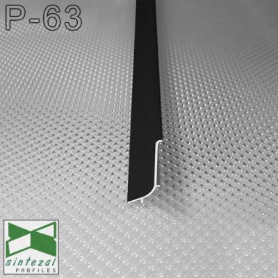Черный алюминиевый плинтус накладной, Sintezal P-63B, 40х17х2500 мм.