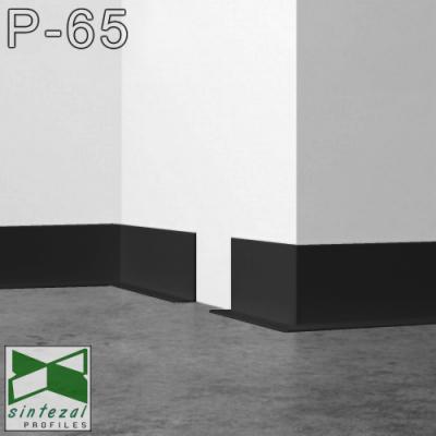 P-65B. Чорний алюмінієвий плінтус Г-подібний Sintezal, 60х14,5х2500мм.