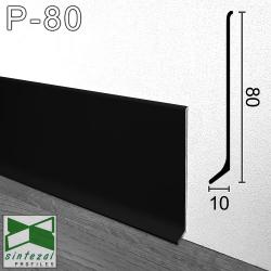 P-80B. Чёрный алюминиевый плинтус напольный Sintezal, 80х10х2500мм.
