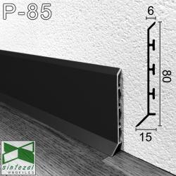 P-85B. Чорний алюмінієвий плінтус для підлоги Sintezal, 80х15х2500мм.