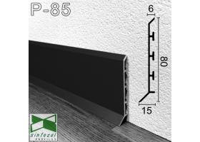 P-85. Черный алюминиевый плинтус для пола Sintezal, 80х15х2500мм.