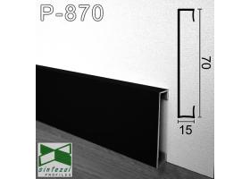 P-870B. Прямоугольный алюминиевый плинтус для пола Sintezal, 70х15х2500мм. Чёрный