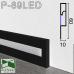 Черный алюминиевый плинтус с LED подсветкой P-89LED, 60х10х2500мм.