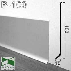 P-100. Широкий алюмінієвий плінтус для підлоги Sintezal, 100х10х2500 мм. Анодований