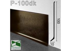 P-100DK. Сатинированный алюминиевый плинтус Sintezal, 100х10х2500мм. Цвет - Тёмный кофе