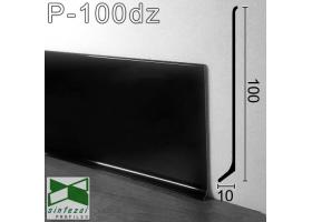 P-100DZ. Чёрный полированный плинтус из алюминия Sintezal, 100х10х2500мм.
