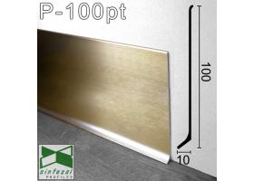 P-100PT. Сатинированный алюминиевый плинтус Sintezal, 100х10х2500мм. Цвет - Платина