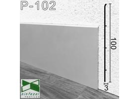 Плоский алюминиевый плинтус для пола Sintezal P-102, 100х3х2500мм.