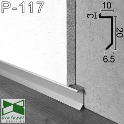 P-117. Прихований алюмінієвий плінтус тіньового шва, 20х10х2500мм. Плінтус вбудований низький