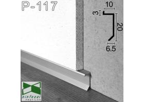 P-117. Скрытый алюминиевый плинтус для пола, 20х10х2500мм. Плинтус встроенный низкий
