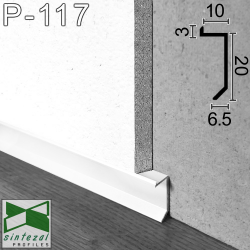 P-117W. Білий прихований алюмінієвий плінтус тіньового шва, 20х10х2500мм.