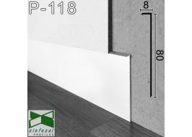 P-118W. Белый алюминиевый плинтус скрытого монтажа, 80х8х2500мм.