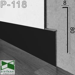 P-118B. Чорний тонкий алюмінієвий плінтус прихованого монтажу, 80х8х2500мм.