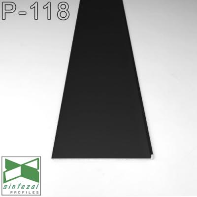 P-118B. Черный плинтус скрытого монтажа Sintezal, 80х8х2500мм.