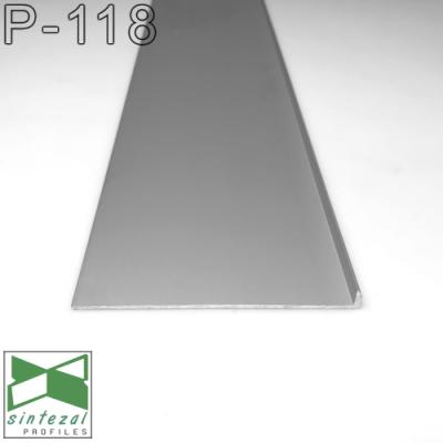 P-118. Скрытый алюминиевый плинтус под вставку, 80х8х2500мм. Без покрытия