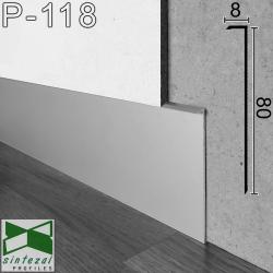 P-118. Прихований тонкий плінтус алюмінієвий, 80х8х2500мм. Без покриття