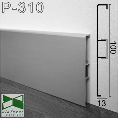 Накладной алюминиевый плинтус с кабель-каналом ARFEN Р-310