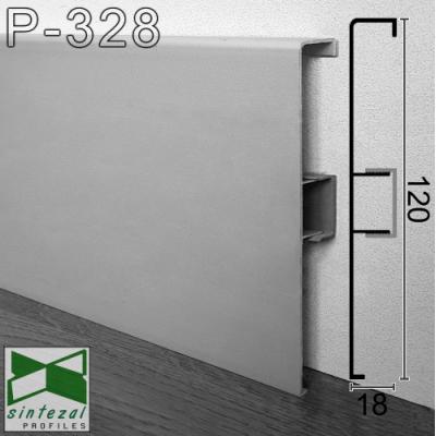 Алюминиевый плинтус с кабель-каналом ARFEN Р-328, высота 18см.