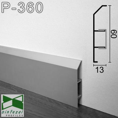 Алюминиевый плинтус с кабель-каналом ARFEN Р-360, высота 6 см.