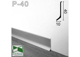 P-40. Плоский алюминиевый плинтус для пола Sintezal, 40х10х2700мм. Анодированный