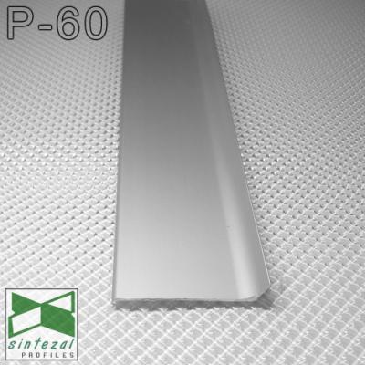 P-60. Дизайнерський алюмінієвий плінтус для підлоги Sintezal, 60х10х2500мм. Анодований