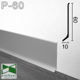 P-60. Дизайнерский алюминиевый плинтус для пола Sintezal, 60х10х2500мм. Анодированный