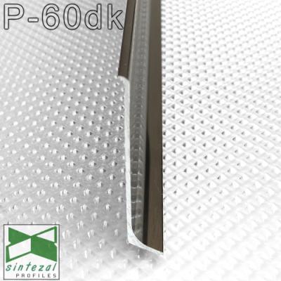 Сатинированный алюминиевый плинтус P-60DK, 60х10х2500мм.