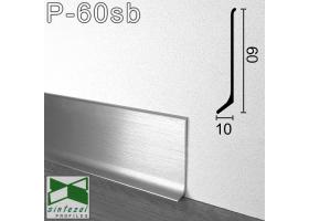 P-60SB. Брашированный алюминиевый плинтус для пола Sintezal, 60х10х2000мм. Серебро сатин