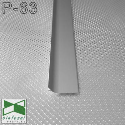 Накладной алюминиевый плинтус Sintezal P-63, 40x17мм.