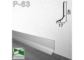 P-63. Плоский алюминиевый плинтус Sintezal, 40х17х2500мм. Анодированный