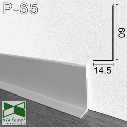P-65. Плоский алюминиевый плинтус для пола  Sintezal, 60х14,5х2500мм. Анодированный