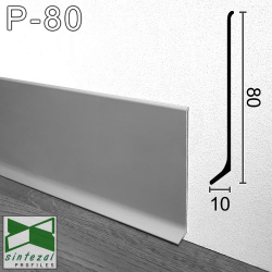 P-80. Плоский алюмінієвий плінтус для підлоги Sintezal, 80х10х2500мм. анодований