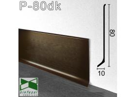 P-80DK. Сатинированный алюминиевый плинтус Sintezal, 80х10х2500мм. Цвет - Тёмный кофе