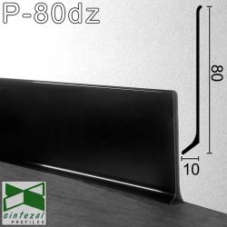 P-80DZ. Чёрный полированный плинтус для пола Sintezal, 80х10х2500мм.