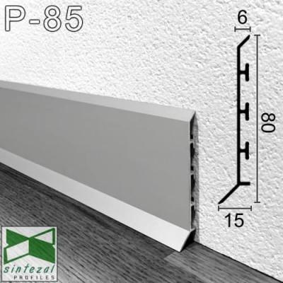 Алюминиевый плинтус для пола Sintezal P-85 80х15х2500мм., анодированный