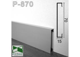 P-870. Прямоугольный алюминиевый плинтус для пола Sintezal 70х15х2500мм. Анодированный