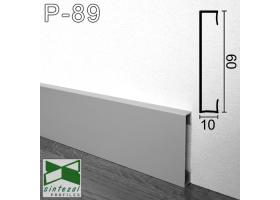 P-89. Прямоугольный алюминиевый плинтус для пола Sintezal, 60х10х2500мм. Анодированный