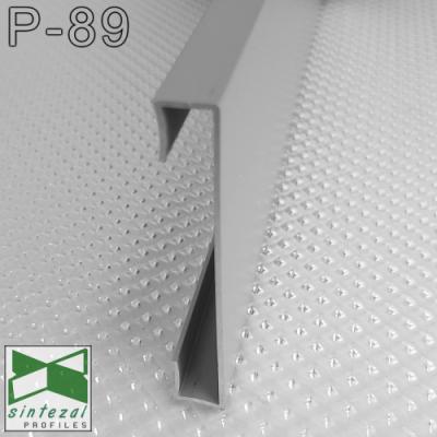 P-89. Прямокутний алюмінієвий плінтус для підлоги Sintezal, 60х10х2500мм. анодований