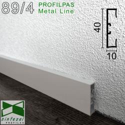 89/4. Алюмінієвий плінтус для підлоги Profilpas Metal Line, 40х10х2000мм. Анодований