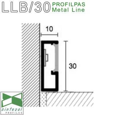 LLB/30. Алюминиевый плинтус для пола с подсветкой Profilpas ProLight, 30х10х2700мм. Полированный