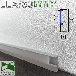 LLA/30. Алюмінієвий плінтус для підлоги c LED-підсвіткою Profilpas ProLight, 30х10х2700мм. Анодований