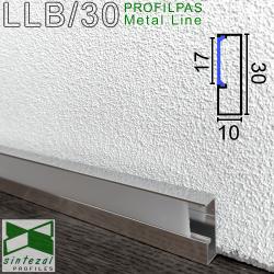 LLB/30. Алюмінієвий плінтус для підлоги з підсвіткою Profilpas ProLight, 30х10х2700мм. Полірований