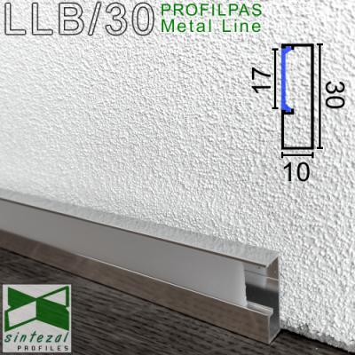 LLA/30. Алюминиевый плинтус для пола c LED-подсветкой Profilpas ProLight, 30х10х2700мм. Анодированный