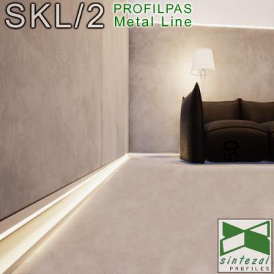 SKL/2. Встроенный плинтус со скрытой LED-подсветкой Profilpas Metal Line XL Design, 63х10х2800 мм.