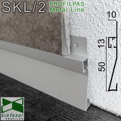 SKL/2. Встроенний плінтус з прихованою LED-підсвіткою Profilpas Metal Line XL Design, 63х10х2800 мм.