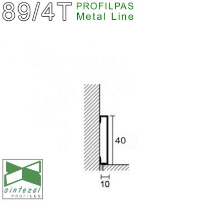 Итальянский дизайнерский плинтус из алюминия Profilpas Metal Line 89/4EI, H=40mm. Титан