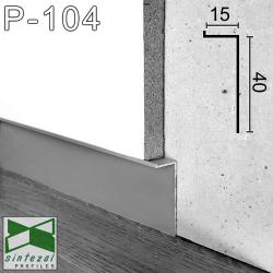 """P-104. Прихований алюмінієвий плінтус """"левітуючі стіни"""" Sintezal, 40х15х2500мм. Анодований"""