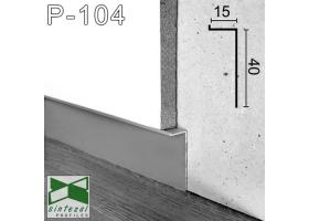 """P-104. Скрытый алюминиевый плинтус """"парящие стены"""" Sintezal, 40х15х2500мм. Анодированный"""